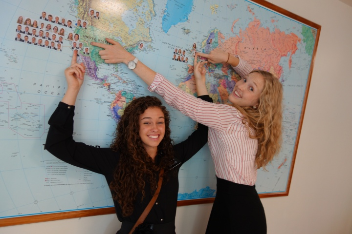 Me and Sister Sorge by the map in the MTC pointing out where we are from and where we are going. Awkwardly one of the Elders is from England, so I'm basically pointing to his face.