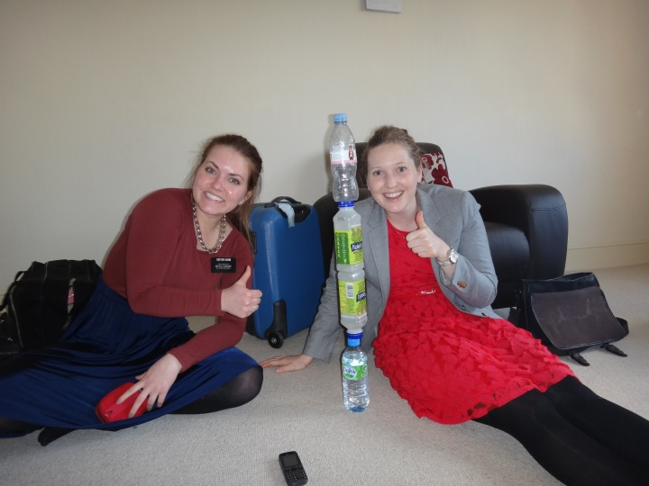 Shenanigans with bottles...life gets pretty boring as a missionary. I was pretty proud that we got the full bottle at the top to balance.