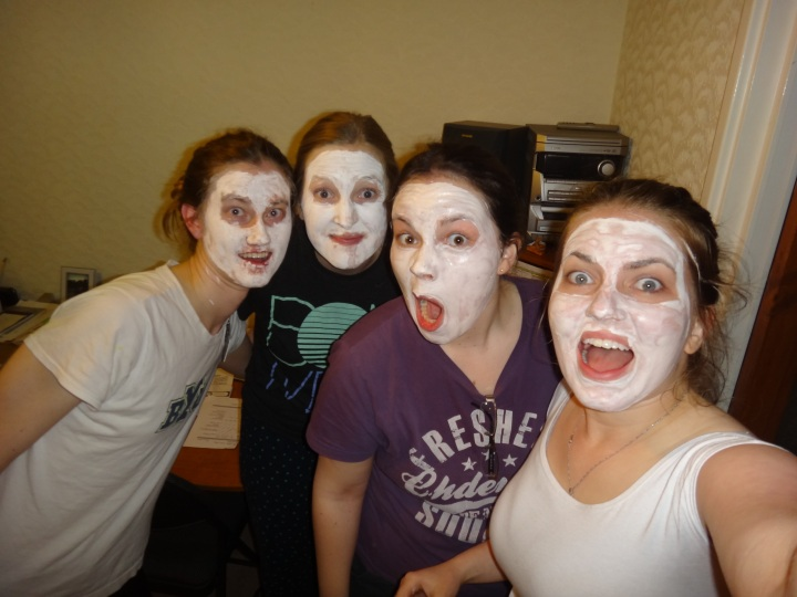 Face masks on exchange night thanks to Sister Wiborny